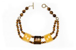 A MOJA JEWELLERY TIGER EYE AND ARAGONITE NECKLACE