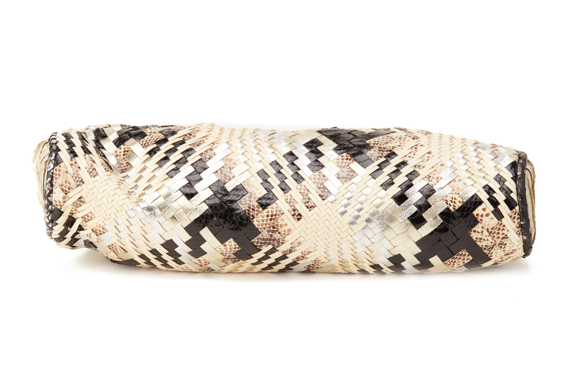 AN ANA MULTICOLOURED SNAKESKIN WEAVED CLUTCH - Image 3 of 5