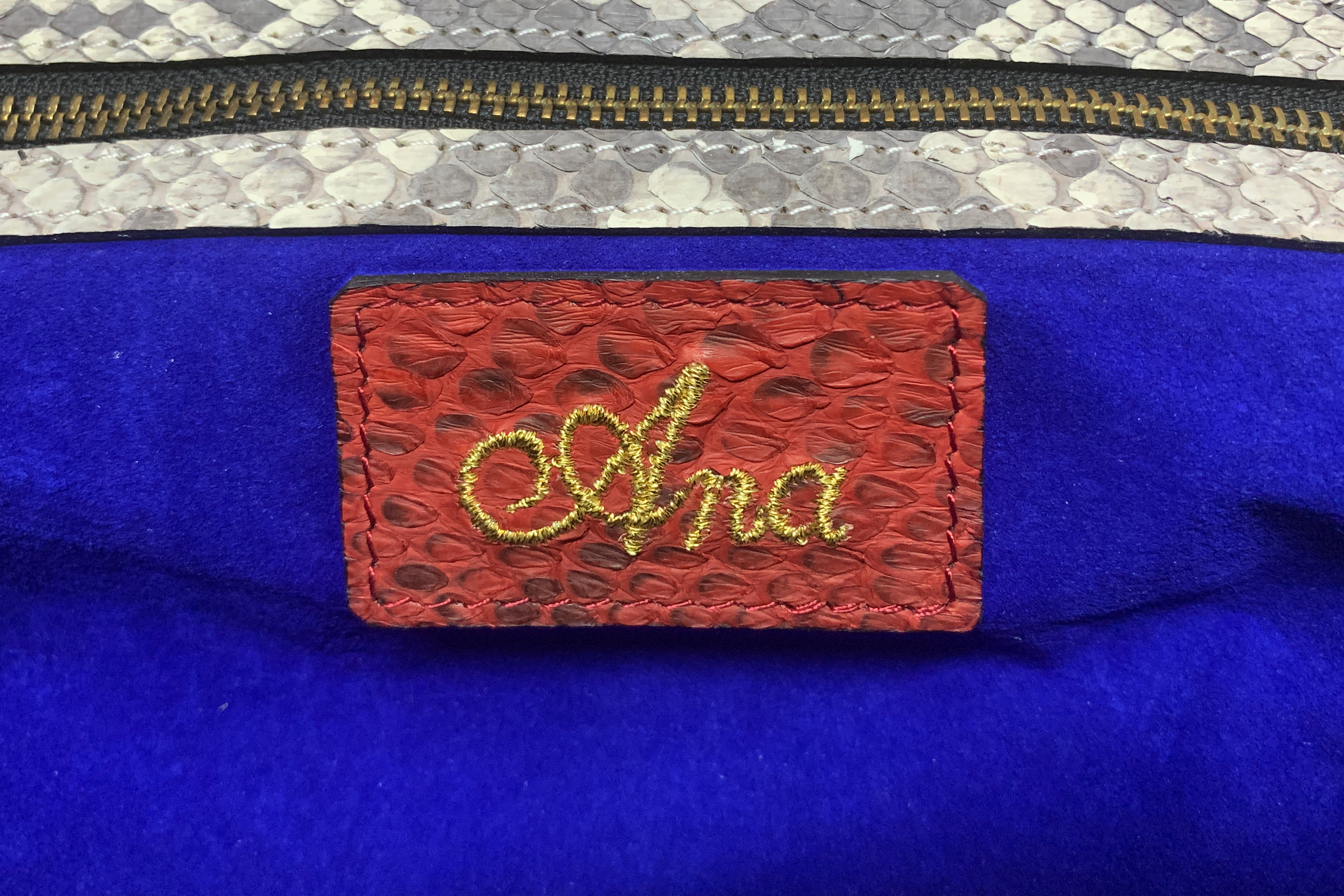 AN ANA MULTICOLOURED SNAKESKIN WEAVED CLUTCH - Image 5 of 5