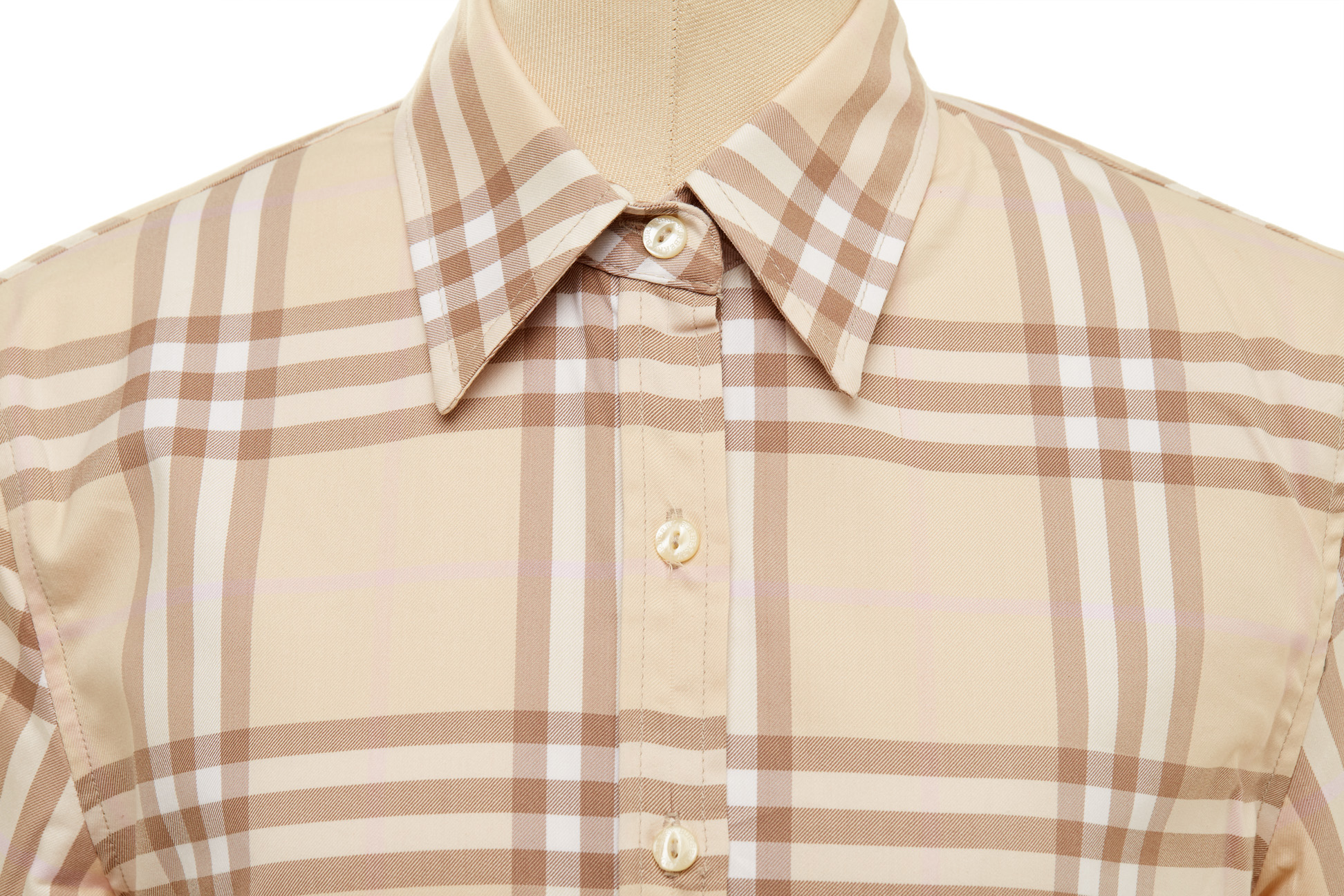 A BURBERRY BEIGE CHECK BUTTON-UP SHIRT - Image 2 of 3
