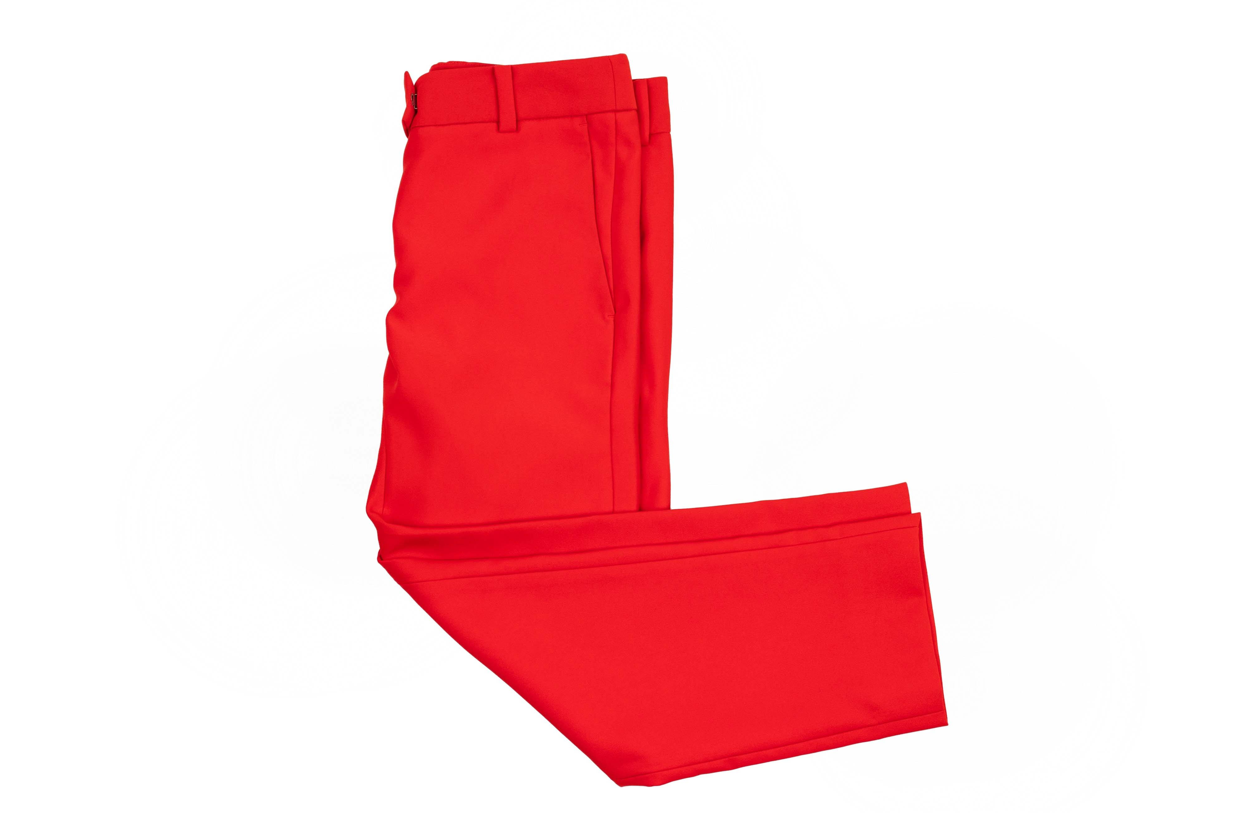 A PAIR OF CALVIN KLEIN RED TROUSERS