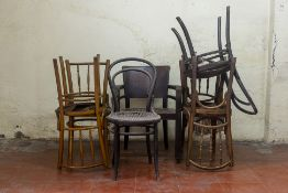 A GROUP OF SEVEN ASSORTED CANED CHAIRS