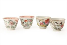 TWO PAIRS OF FAMILLE ROSE PORCELAIN BOWLS