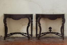 A PAIR OF DEMI LUNE MARBLE TOPPED CONSOLE TABLES
