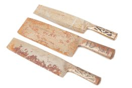 THREE CHINESE CLEAVER KNIVES