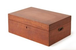 A TWIN HANDLED RECTANGULAR TEAK TABLE BOX