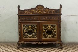 A PERANAKAN CARVED AND PARCEL GILT SIDE CABINET