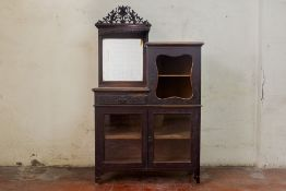 A MIRROR BACK DISPLAY CABINET