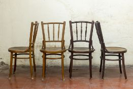 TWO PAIRS OF BENTWOOD BISTRO CHAIRS