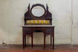 A PERANAKAN TILED AND MARBLE TOPPED DRESSING TABLE