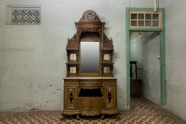 A TALL PERANAKAN CARVED MIRROR BACKED SIDEBOARD