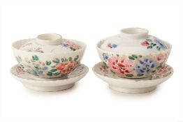 A PAIR OF PORCELAIN BOWLS, COVERS AND STANDS