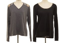 TWO BURBERRY LONG SLEEVE T-SHIRTS