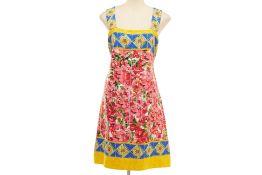 A DOLCE & GABBANA FLORAL TILE PRINT DRESS