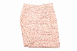 A CHANEL WHITE & RED TWEED MIDI SKIRT