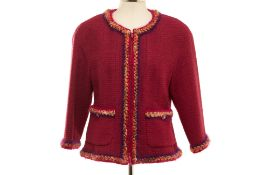 A CHANEL BURGUNDY BOUCLE WOOL JACKET