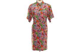 A DOLCE & GABBANA FLORAL PRINTED SILK SHIRT DRESS