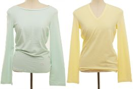 TWO BURBERRY PASTEL LONG SLEEVE T-SHIRTS