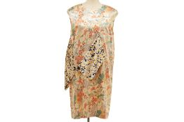 A CELINE 'MULBERRY' FLORAL SILK DRESS