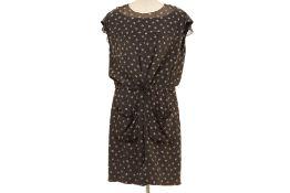 A CHANEL DARK GREY SILK CC LOGO PRINT DRESS