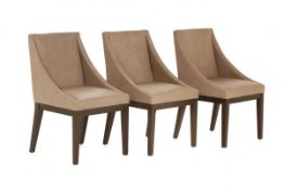 A SET OF THREE 'WEST ELM' LEATHER DINING CHAIRS