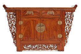 A CHINESE ELM SIDE CABINET