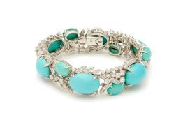 A TURQUOISE AND DIAMOND BRACELET