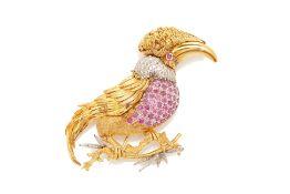 A RUBY AND DIAMOND BIRD BROOCH