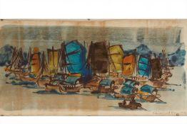 ROSAMOND BROWN (BRITISH, B.1937) - CHINESE JUNKS