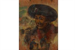 PASAN (20TH CENTURY) - FIGURE STUDY WITH A PIPE