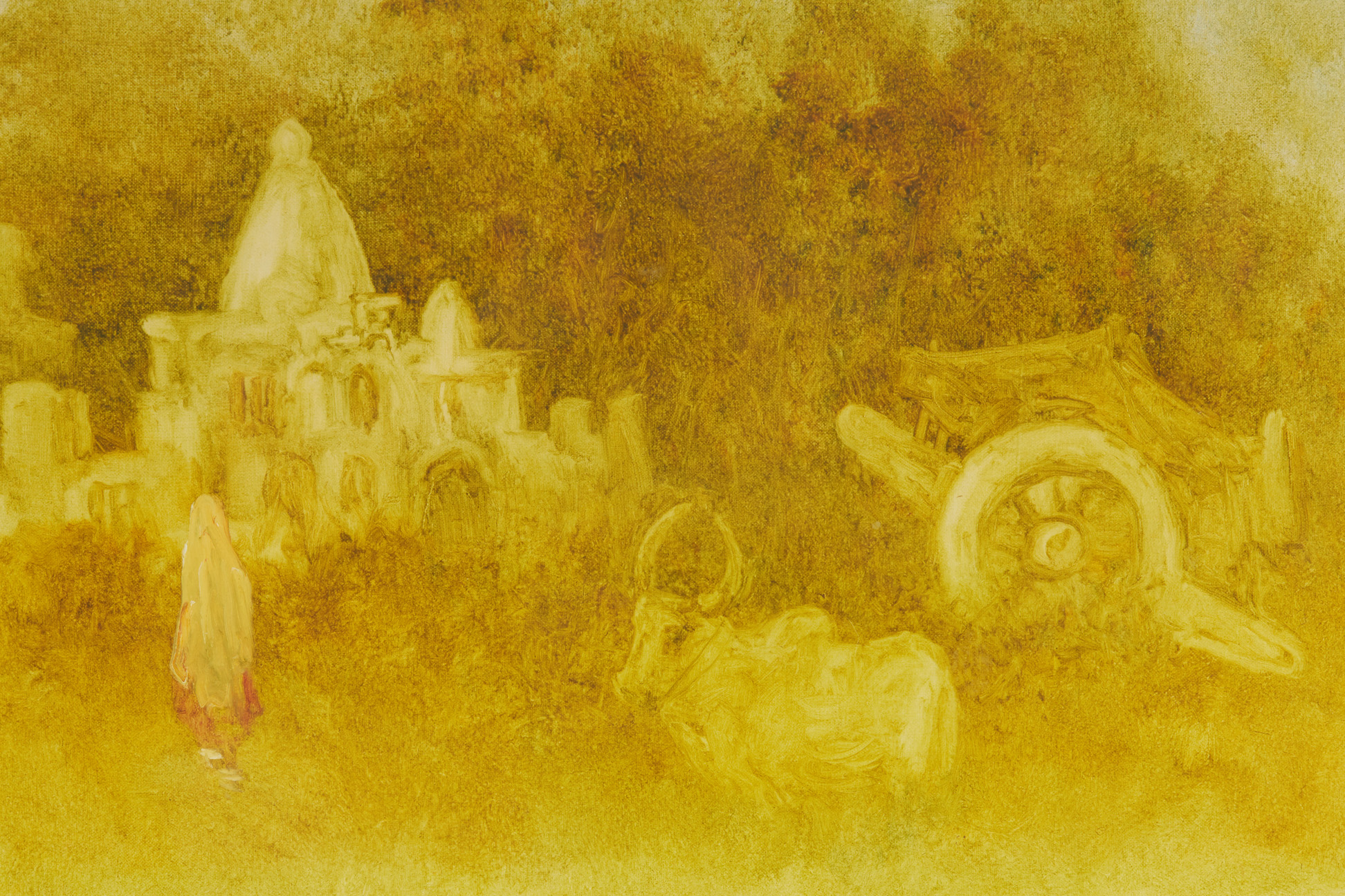 M. KRISHNAN (INDIAN, 20TH CENTURY) - LADY BEFORE A TEMPLE - Image 3 of 4