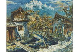 ZHOU YING (20TH/21ST CENTURY) - VILLAGE IN THE MOUNTAINS