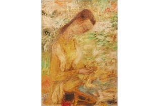 LE PHO (VIETNAMESE, 1907-2001) - JEUNE FILLE DANS LE JARDIN
