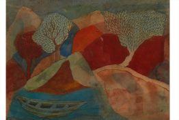 BADRI NARAYAN (INDIAN, 1929-2013) - LANDSCAPE WITH LONE BOAT