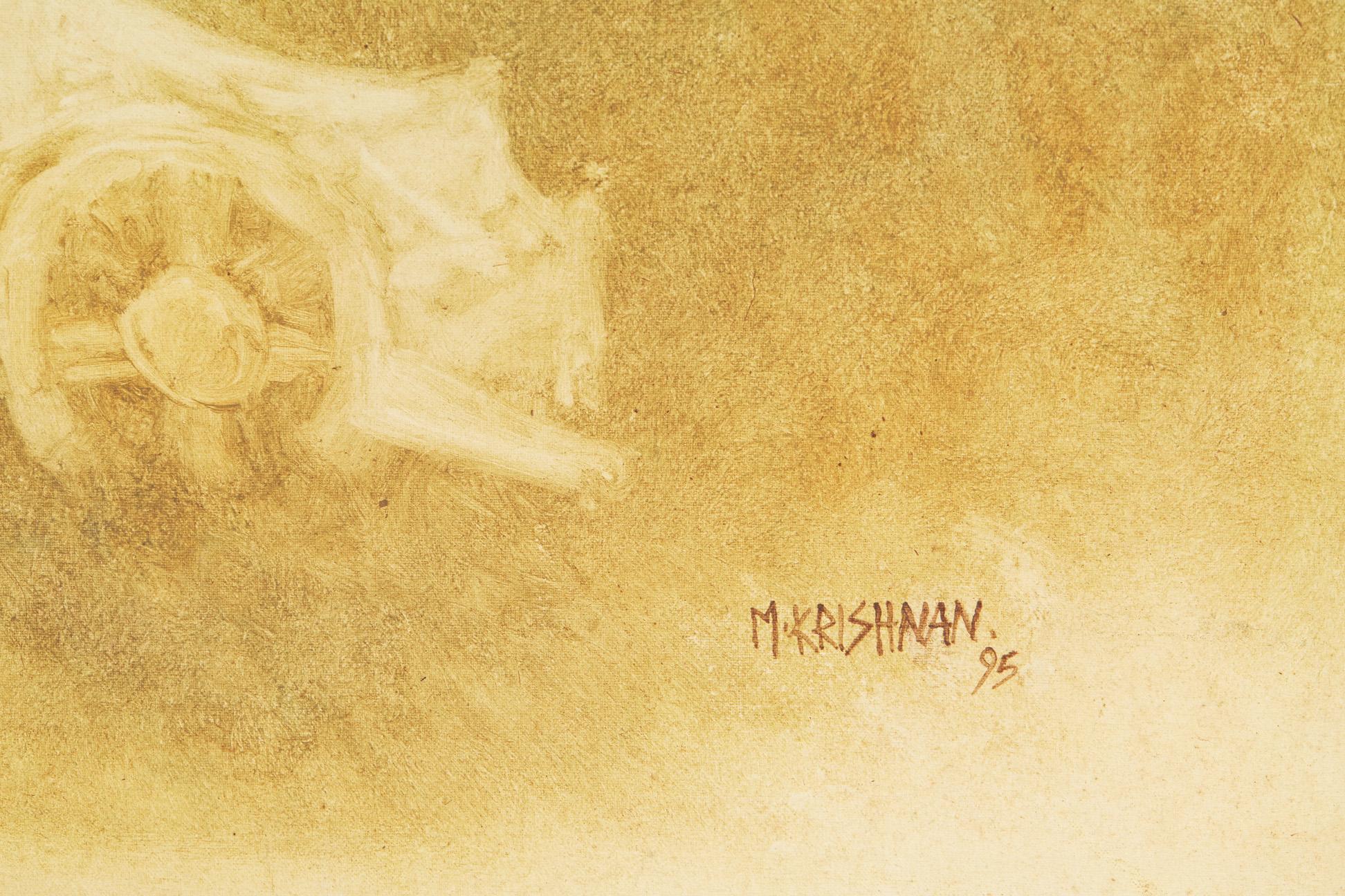 M. KRISHNAN (INDIAN, 20TH CENTURY) - BULLOCK CART AND TEMPLE - Image 3 of 4