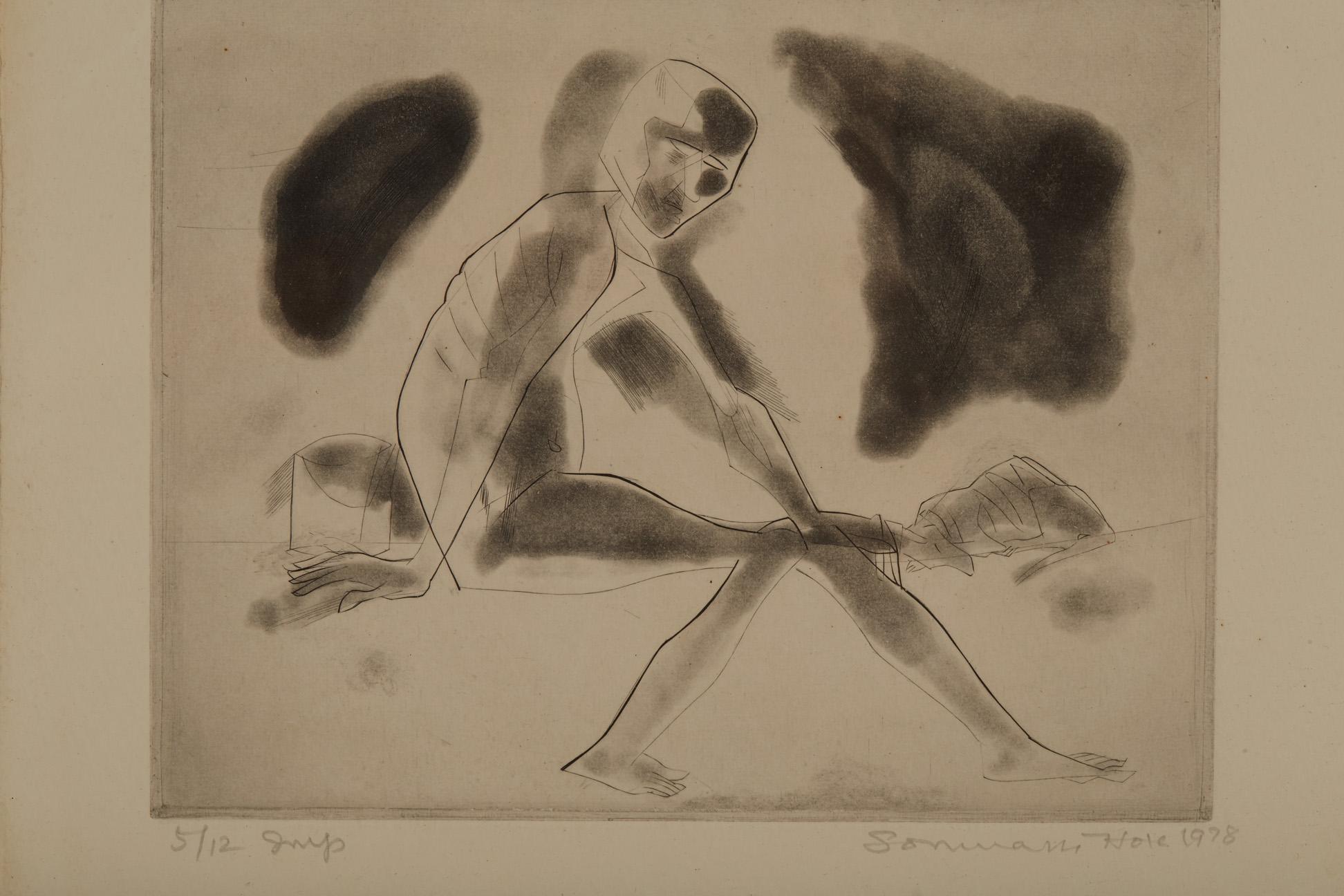 SOMNATH HORE (INDIAN, 1921-2006) - UNTITLED - Image 4 of 5