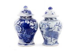 TWO BLUE AND WHITE PORCELAIN JARS AND COVERS
