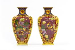 A PAIR OF SQUARE-SHAPED BALUSTER VASES