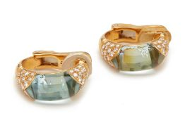 A PAIR OF BULGARI BLUE TOPAZ AND PAVE DIAMOND EARCLIPS