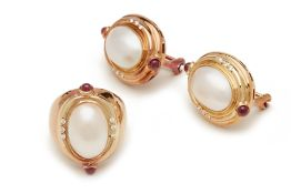 A SET OF PEARL EARRINGS & RING WITH RUBY & DIAMOND DETAILING