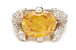 A CITRINE AND DIAMOND RING