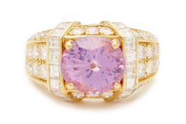 A PINK SAPPHIRE AND DIAMOND RING