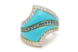 A DIAMOND AND TURQUOISE RING