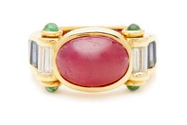 A SYNTHETIC STAR RUBY, EMERALD, SAPPHIRE AND DIAMOND RING