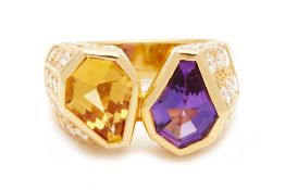 AN AMETHYST, CITRINE AND DIAMOND RING