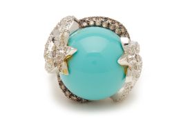 A ELABORATE TURQUOISE AND DIAMOND WHITE GOLD RING