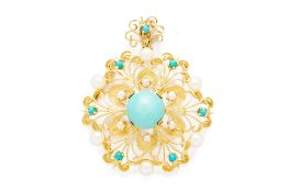 A PEARL AND TURQUOISE FILIGREE BROOCH