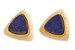 A PAIR OF YELLOW GOLD AND DRUZY QUARTZ EARRINGS