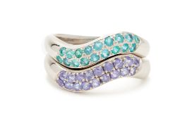 A PAIR OF TANZANITE AND GEMSTONE STACKED RINGS