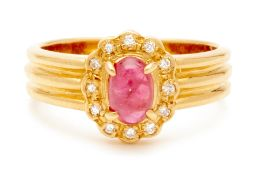 A YELLOW GOLD, RUBY AND DIAMOND RING